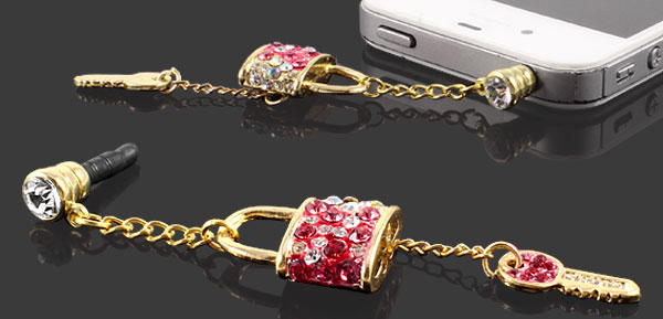 Rhinestone Key Dangle 3.5mm Dust Plug Stopper Earphone Cap Red for Mp3 Mp4