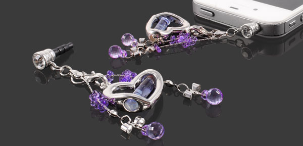 Plastic Crystal Heart Pendant 3.5mm Earphone Ear Cap Anti Dust Plug Purple for Mp3 Mp4