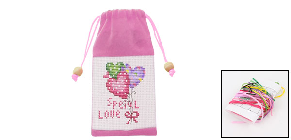 Heart Letter Print Pull String Phone Holder Cross Stitch Counted Handmade Kit