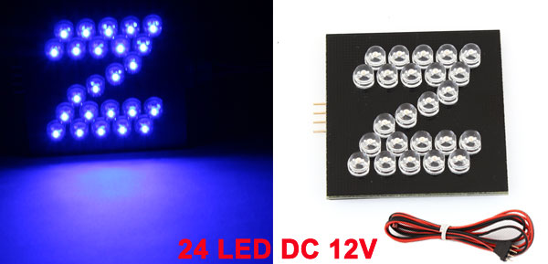 Blue 24 LED Bulb Z Design English Letter Light Decor for Car