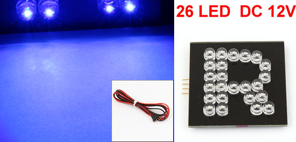 R Pattern English Letter Blue 26 LED Bulb Lamp for Auto Adorn
