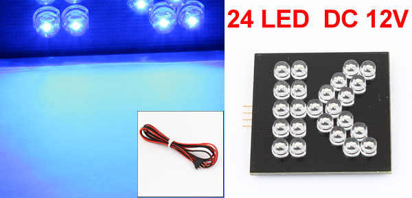 K Printed English Letter Blue 24 LED Bulb Lamp for Auto Adorn