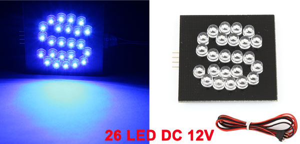Blue 26 LED Bulb S Design English Letter Light Decor for Car