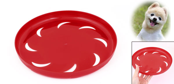 Pet Dog Training Red Plastic Hollow Out Moon Flyer Disc Frisbee Toy 9.1