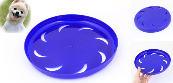 Pet Dog Training Blue Plastic Hollow Out Moon Flyer Disc Frisbee Toy 9.1