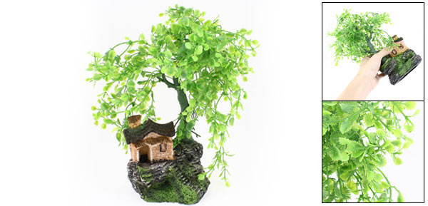 Aquarium Fish Tank Ornament Green Plastic Leaves Tree House Decor