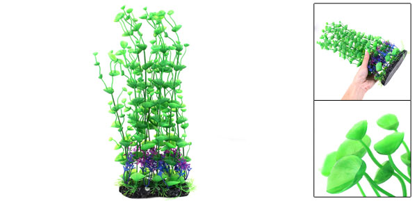 40cm Height Green Leaf Blue Fushsia Flower Underwater Grass Ornament for Aquarium