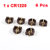 6PCS Brown Plastic Shell CR1220 Button Cell Battery Socket Holder Case