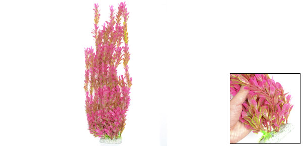 Fish Tank Aquarium Ornament Manmade Water Grass Plant Green Fuchsia
