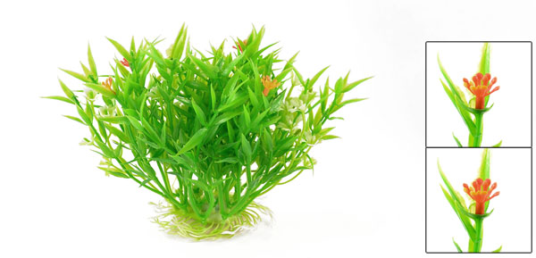 Fish Tank Green Orange Plastic Water Plant Grass Decoration 5.5