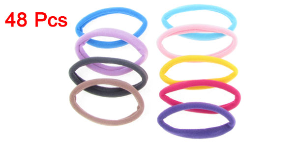 48 Pcs Headdressing Colorful Stretchy Ponytail Holders Hairbands Hair Tie