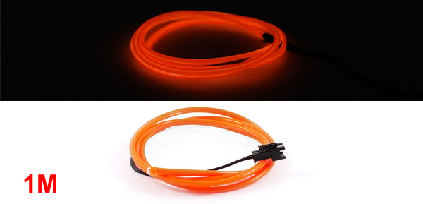 1M Long 4mm Dia Orange Flexible EL Wire Neon Glow Strip Light Lamp Rope