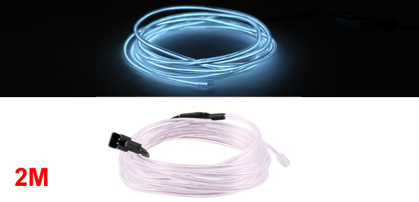 2M Long 3.2mm Dia Light Blue Light Flexible EL Wire Neon Glow Strip Rope Clear