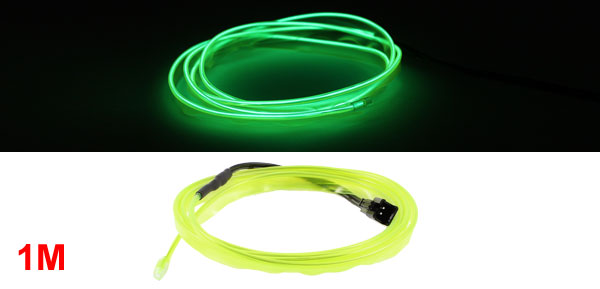 1M Yellow Green Flexible EL Wire Neon Glow Strip Light Rope Tape