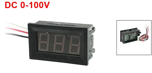 DC 0-100V 3-Wire Mini Red LED 3-Digit Volt Voltage Panel Meter Voltmeter