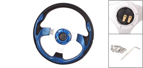 Black Royal Blue 6 Holes Faux Leather Wrapped Steering Wheel for Auto
