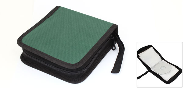 Green Black Nylon Cover Zipper Plastic 50 Capacity CD DVD Holder Bag Case