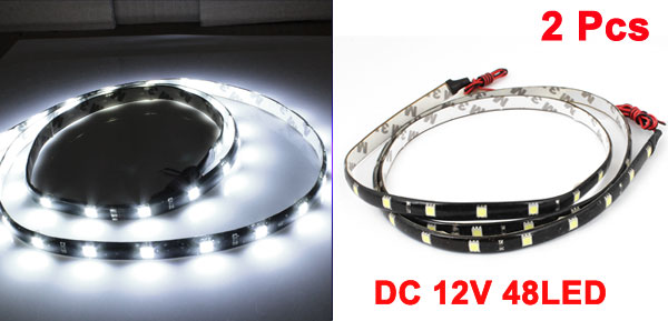 2PCS Self Adhesive White 48 5050 SMD Car LED Flexible Light Strip Decor 120CM