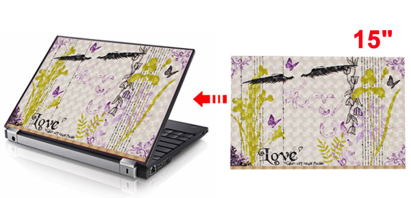 Butterfly Flower Wing Feather Pattern Beige 3D Sticker Decal for 15
