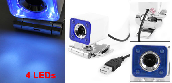 White Blue 360 Degree Rotation 4 LEDs USB PC Web Cam Camera for Desktop Laptop