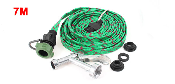 23Ft Long Green Nylon Hose Lever Gun Sprayer Cleaning Nozzle for Car Watering
