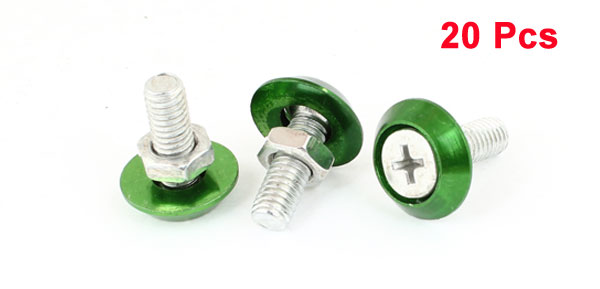 20 Pcs Silver Tone Green Auto Car Motorcycle License Plate Frame Screw