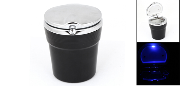 Silver Tone Black Plastic Metal Auto Car Smoking Cigarette Ashtray Holder