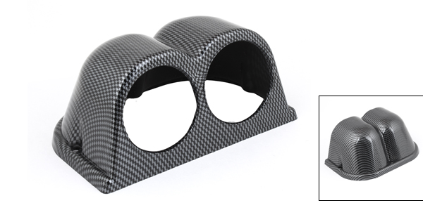 Carbon Fiber Pattern Plastic Double Gauge Dash Pod Cover for Car