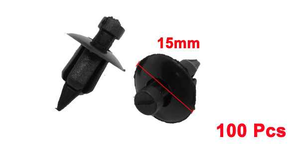 100 Pcs Auto Car Door Fender 7mm Hole Push Plastic Rivets Clips Black