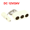 DC12/24V USB Port 3 Socket White Plastic Car Cigarette Lighter Charger Splitter