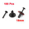 100 Pcs 6.2mm Hole Car Door Push Type Plastic Rivets Fastener Black