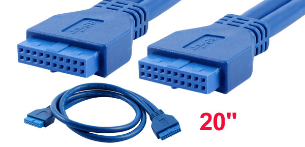 Blue USB 3.0 20 Pin Box Header Female to Female Motherboard Cable Cord Lead