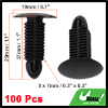 100 Pcs Auto Car Door Fender 8x7mm Hole Push Plastic Rivets Fastener Black