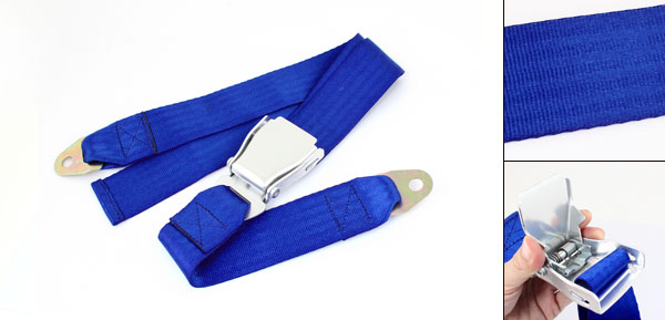Royal Blue Nylon 2 Points Driving Safety Seat Belt Lab for Car Truck