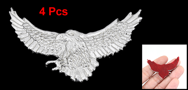 Vehicle Car Exterior Decor Silver Tone Eagle Shape Stickers Badge Emblem 4 Pcs