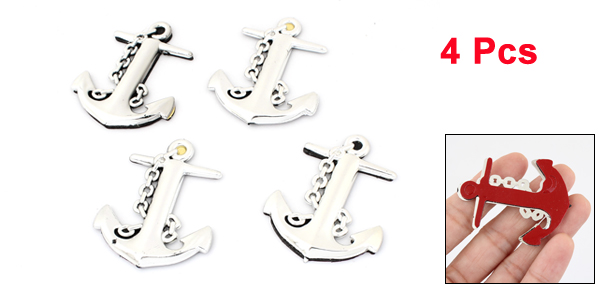 Auto Car Exterior Silver Tone Plastic Boat Anchor Shape Badge Emblem Stickers 4 Pcs