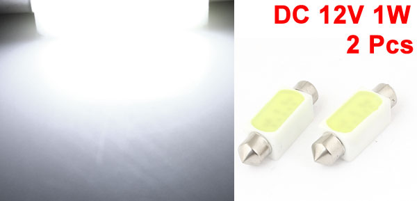 39mm DC 12V 1W White LED Bulb Dome Roof Lamp Festoon Light 2 Pcs for Car