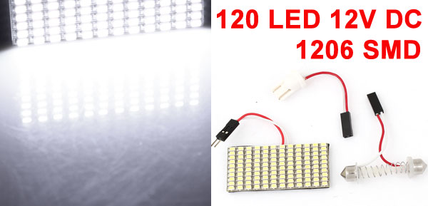 White 120 LED 1206 SMD Dome Light Lamp Bulb w T10 Festoon Adapter for Car