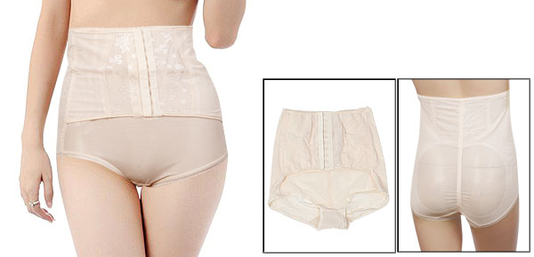 Elastic High Waist Control Corset Shaper Panties Beige L for Ladies