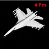 4PCS Silver Tone Plastic Airplane Shaped Adhesive Car Automobile Badge Stickers