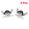 2pcs Silver Tone Skull Head Design Ornament Badge Stickers for Car Vehicle