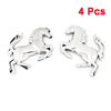 4PCS Silver Tone Plastic Horse Shaped Self Adhesive Car Automobile Stickers