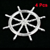 4PCS Silver Tone Plastic Ship Wheel Shaped Adhesive Car Auto Badge Stickers
