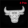 4pcs Silver Tone Cattle Head Design Decor Decal Badge Stickers for Car Vehicle