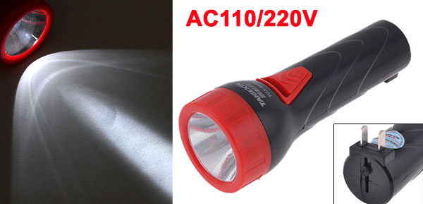 Outdoor Rechargeable 2 Modes 2 Pin US Plug LED Flashlight Black Red AC 110V/220V