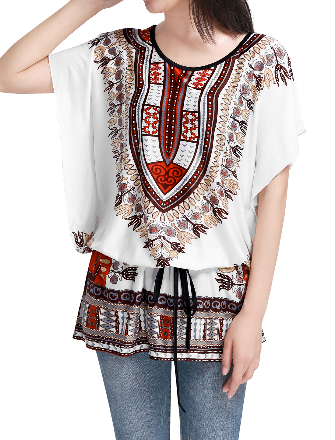 Women Batwing Sleeve Round Neck Semi Sheer Multicolor Tunic...