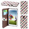 Check Print Red Green PU Leather Card Holder Flip Case Cover for Samsung i9500