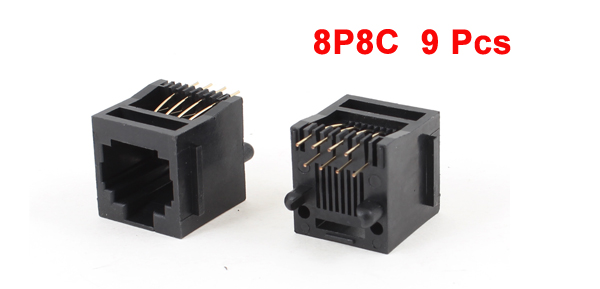 9 Pcs Unshielded RJ45 8P8C Network Modular PCB Connector Jacks Black