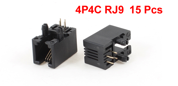 15 Pcs Unshielded RJ9 4P4C Network Modular PCB Connector Jacks Black