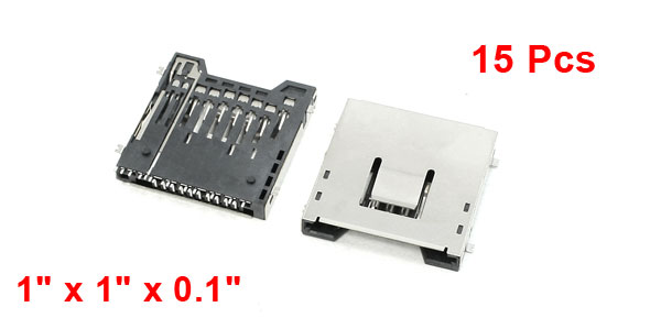 15Pcs Push-Out Type SD Memory Card Sockets Slots 1